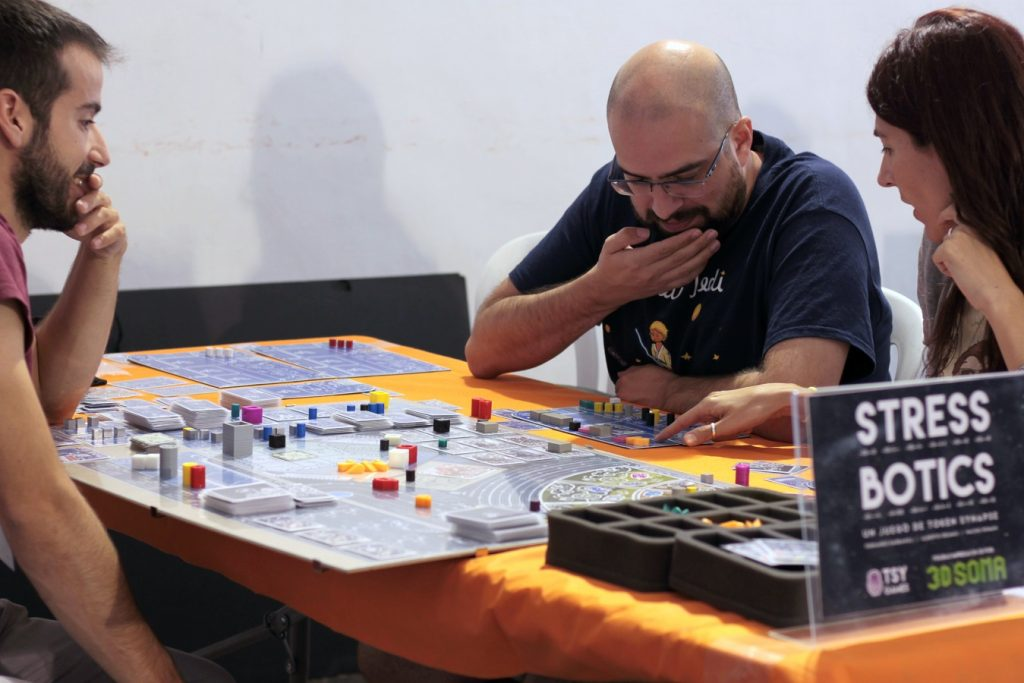 Players testing the first prototype of the game